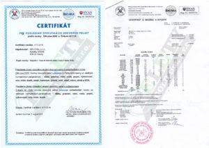 Pelety certifikát GOLD tím, s.r.o.